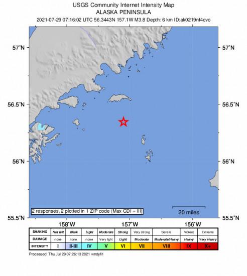 Community Internet Intensity Map for the Chignik, Alaska 3.8m Earthquake, Wednesday Jul. 28 2021, 11:16:02 PM