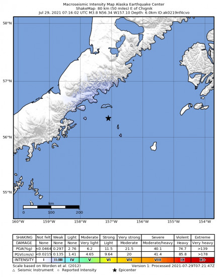 Macroseismic Intensity Map for the Chignik, Alaska 3.8m Earthquake, Wednesday Jul. 28 2021, 11:16:02 PM
