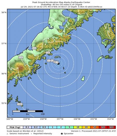 Peak Ground Acceleration Map for the Chignik, Alaska 3.8m Earthquake, Wednesday Jul. 28 2021, 11:16:02 PM