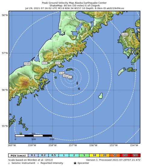 Peak Ground Velocity Map for the Chignik, Alaska 3.8m Earthquake, Wednesday Jul. 28 2021, 11:16:02 PM