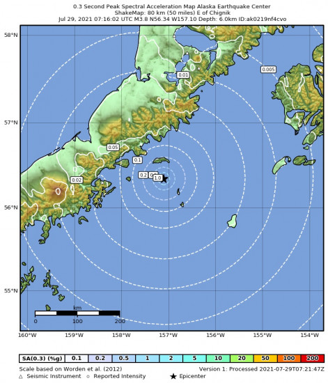 0.3 Second Peak Spectral Acceleration Map for the Chignik, Alaska 3.8m Earthquake, Wednesday Jul. 28 2021, 11:16:02 PM