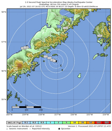 1 Second Peak Spectral Acceleration Map for the Chignik, Alaska 3.8m Earthquake, Wednesday Jul. 28 2021, 11:16:02 PM