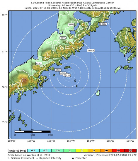 3 Second Peak Spectral Acceleration Map for the Chignik, Alaska 3.8m Earthquake, Wednesday Jul. 28 2021, 11:16:02 PM