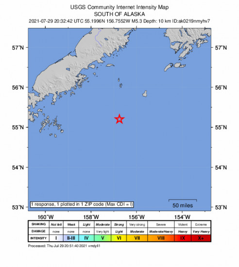 Community Internet Intensity Map for the Chignik, Alaska 5.3m Earthquake, Thursday Jul. 29 2021, 12:32:42 PM