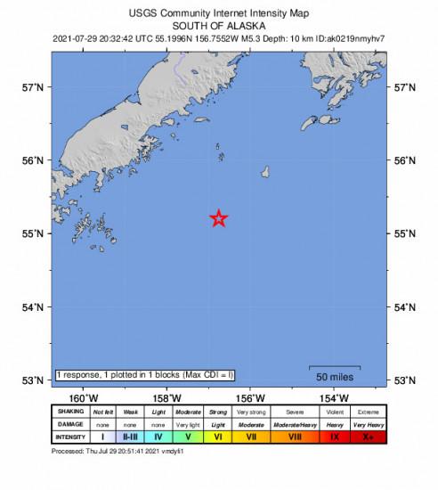 GEO Community Internet Intensity Map for the Chignik, Alaska 5.3m Earthquake, Thursday Jul. 29 2021, 12:32:42 PM