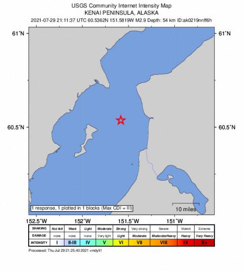 GEO Community Internet Intensity Map for the Salamatof, Alaska 2.9m Earthquake, Thursday Jul. 29 2021, 1:11:37 PM