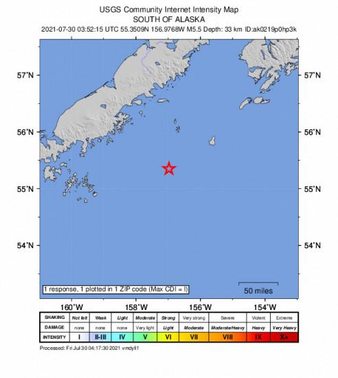 Community Internet Intensity Map for the Chignik, Alaska 5.5m Earthquake, Thursday Jul. 29 2021, 7:52:15 PM