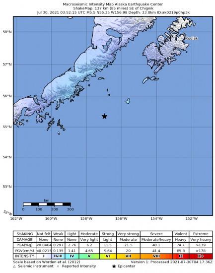 Macroseismic Intensity Map for the Chignik, Alaska 5.5m Earthquake, Thursday Jul. 29 2021, 7:52:15 PM