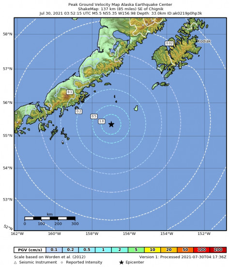 Peak Ground Velocity Map for the Chignik, Alaska 5.5m Earthquake, Thursday Jul. 29 2021, 7:52:15 PM