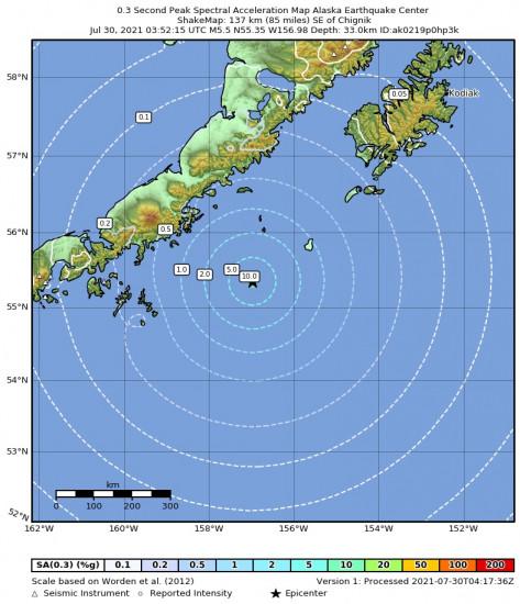 0.3 Second Peak Spectral Acceleration Map for the Chignik, Alaska 5.5m Earthquake, Thursday Jul. 29 2021, 7:52:15 PM
