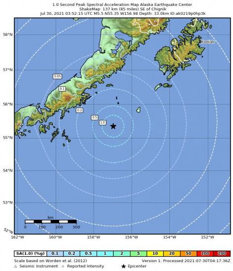 1 Second Peak Spectral Acceleration Map for the Chignik, Alaska 5.5m Earthquake, Thursday Jul. 29 2021, 7:52:15 PM