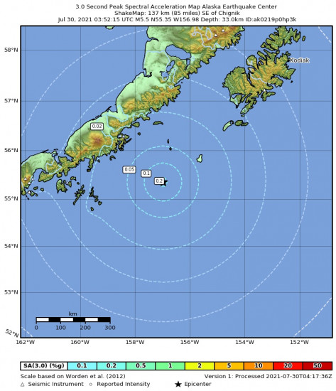 3 Second Peak Spectral Acceleration Map for the Chignik, Alaska 5.5m Earthquake, Thursday Jul. 29 2021, 7:52:15 PM