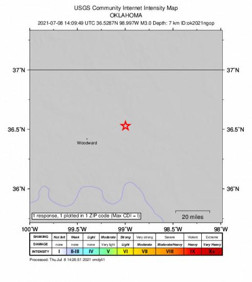 Community Internet Intensity Map for the Quinlan, Oklahoma 2.96m Earthquake, Thursday Jul. 08 2021, 9:09:49 AM