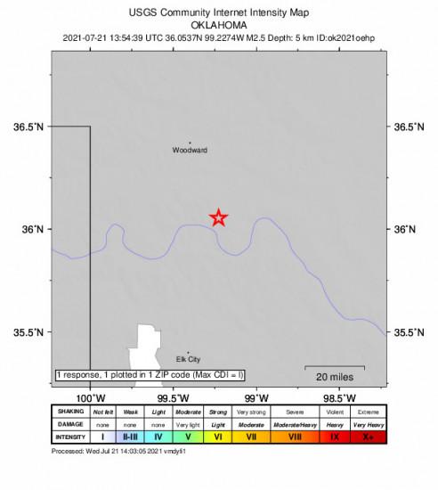 Community Internet Intensity Map for the Camargo, Oklahoma 2.49m Earthquake, Wednesday Jul. 21 2021, 8:54:39 AM