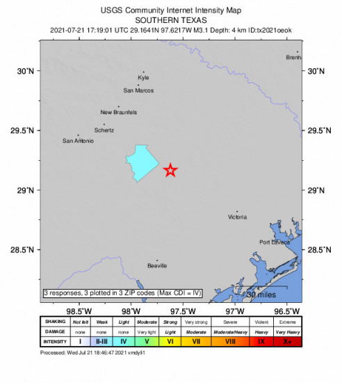 Community Internet Intensity Map for the Smiley, Texas 3.1m Earthquake, Wednesday Jul. 21 2021, 12:19:01 PM