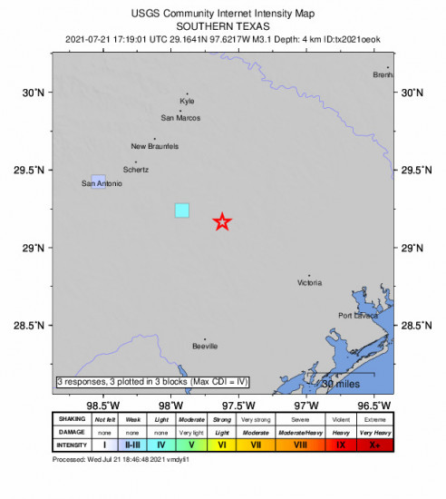 GEO Community Internet Intensity Map for the Smiley, Texas 3.1m Earthquake, Wednesday Jul. 21 2021, 12:19:01 PM