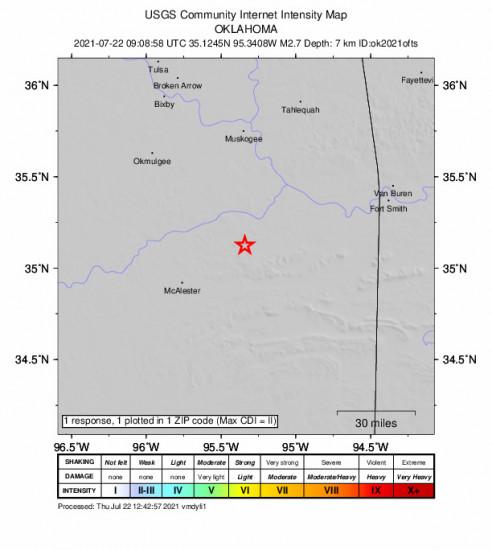 Community Internet Intensity Map for the Quinton, Oklahoma 2.66m Earthquake, Thursday Jul. 22 2021, 4:08:58 AM
