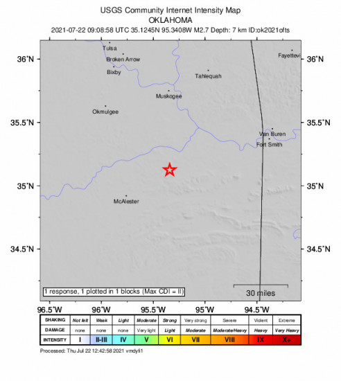 GEO Community Internet Intensity Map for the Quinton, Oklahoma 2.66m Earthquake, Thursday Jul. 22 2021, 4:08:58 AM
