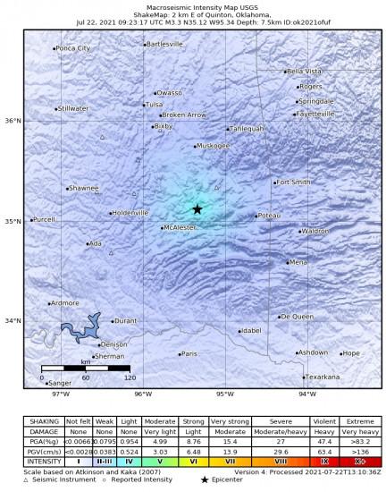Macroseismic Intensity Map for the Quinton, Oklahoma 3.34m Earthquake, Thursday Jul. 22 2021, 4:23:17 AM