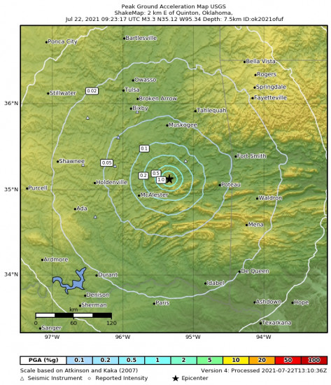 Peak Ground Acceleration Map for the Quinton, Oklahoma 3.34m Earthquake, Thursday Jul. 22 2021, 4:23:17 AM