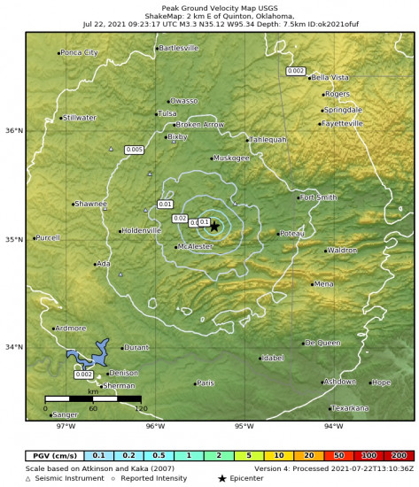 Peak Ground Velocity Map for the Quinton, Oklahoma 3.34m Earthquake, Thursday Jul. 22 2021, 4:23:17 AM