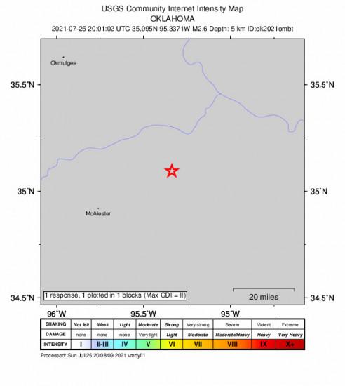 GEO Community Internet Intensity Map for the Quinton, Oklahoma 2.58m Earthquake, Sunday Jul. 25 2021, 3:01:02 PM