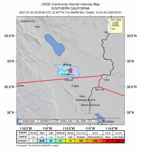 Community Internet Intensity Map for the Holtville, Ca 3.1m Earthquake, Wednesday Jul. 21 2021, 8:50:50 PM