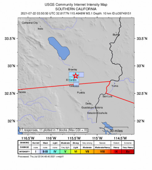 GEO Community Internet Intensity Map for the Holtville, Ca 3.1m Earthquake, Wednesday Jul. 21 2021, 8:50:50 PM
