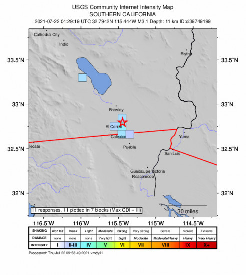 GEO Community Internet Intensity Map for the Holtville, Ca 3.1m Earthquake, Wednesday Jul. 21 2021, 9:29:19 PM