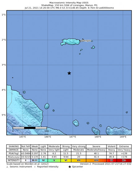 Macroseismic Intensity Map for the Lorengau, Papua New Guinea 6m Earthquake, Thursday Jul. 22 2021, 12:26:00 AM