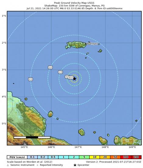 Peak Ground Velocity Map for the Lorengau, Papua New Guinea 6m Earthquake, Thursday Jul. 22 2021, 12:26:00 AM
