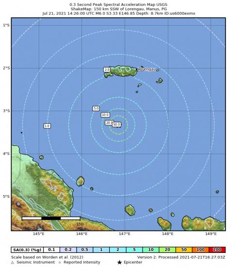 0.3 Second Peak Spectral Acceleration Map for the Lorengau, Papua New Guinea 6m Earthquake, Thursday Jul. 22 2021, 12:26:00 AM