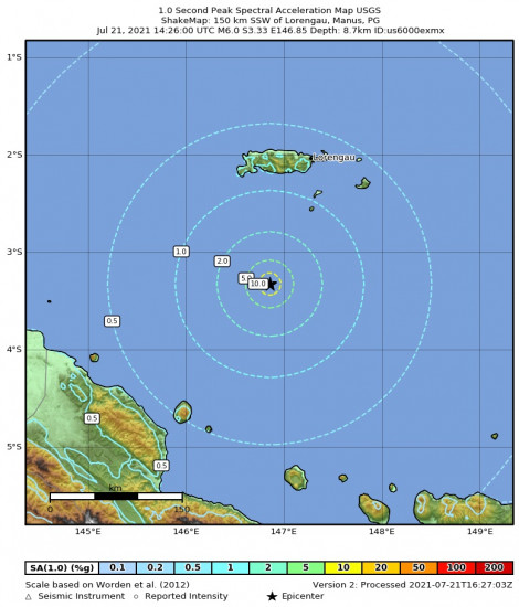 1 Second Peak Spectral Acceleration Map for the Lorengau, Papua New Guinea 6m Earthquake, Thursday Jul. 22 2021, 12:26:00 AM