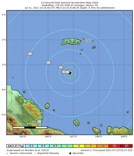3 Second Peak Spectral Acceleration Map for the Lorengau, Papua New Guinea 6m Earthquake, Thursday Jul. 22 2021, 12:26:00 AM