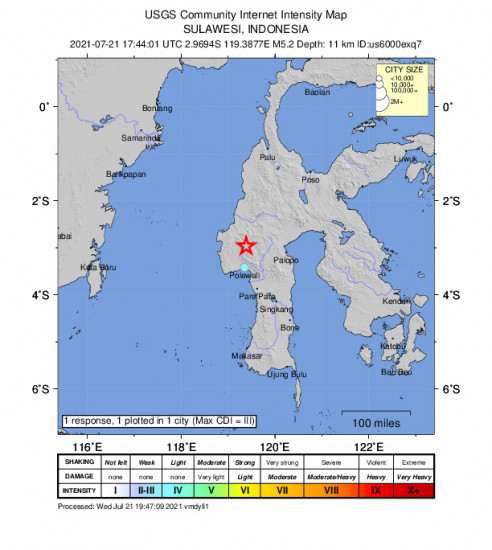 Community Internet Intensity Map for the Polewali, Indonesia 5.2m Earthquake, Thursday Jul. 22 2021, 1:44:01 AM