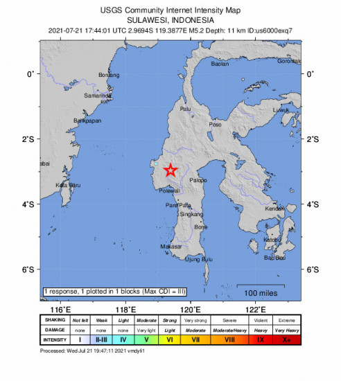 GEO Community Internet Intensity Map for the Polewali, Indonesia 5.2m Earthquake, Thursday Jul. 22 2021, 1:44:01 AM