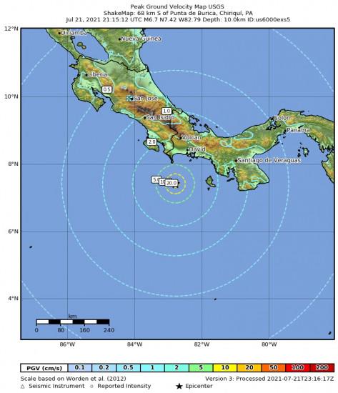 Peak Ground Velocity Map for the Punta De Burica, Panama 6.7m Earthquake, Wednesday Jul. 21 2021, 4:15:12 PM