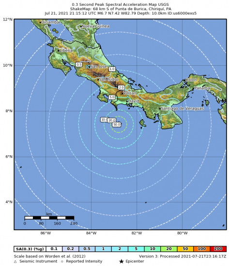 0.3 Second Peak Spectral Acceleration Map for the Punta De Burica, Panama 6.7m Earthquake, Wednesday Jul. 21 2021, 4:15:12 PM