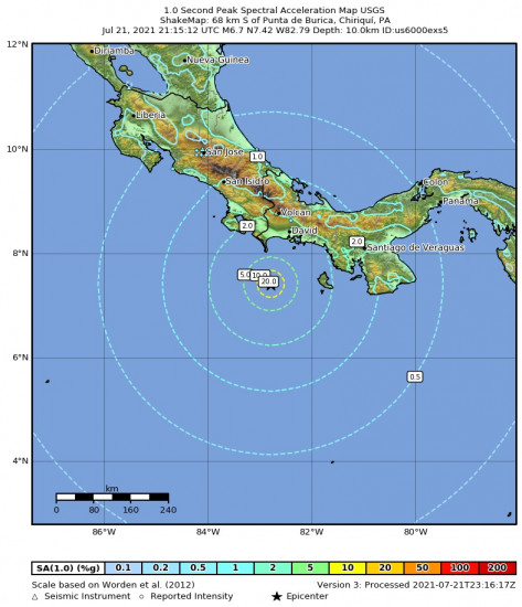 1 Second Peak Spectral Acceleration Map for the Punta De Burica, Panama 6.7m Earthquake, Wednesday Jul. 21 2021, 4:15:12 PM