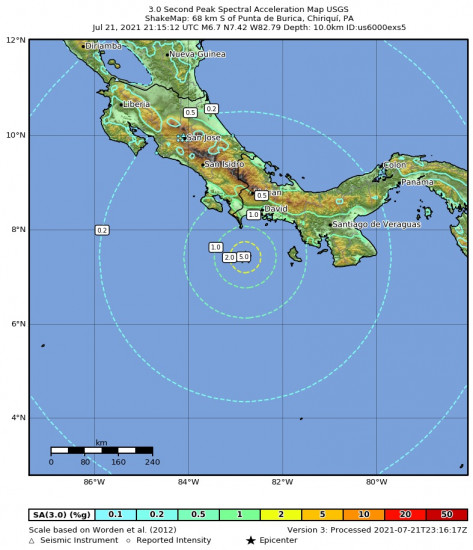 3 Second Peak Spectral Acceleration Map for the Punta De Burica, Panama 6.7m Earthquake, Wednesday Jul. 21 2021, 4:15:12 PM