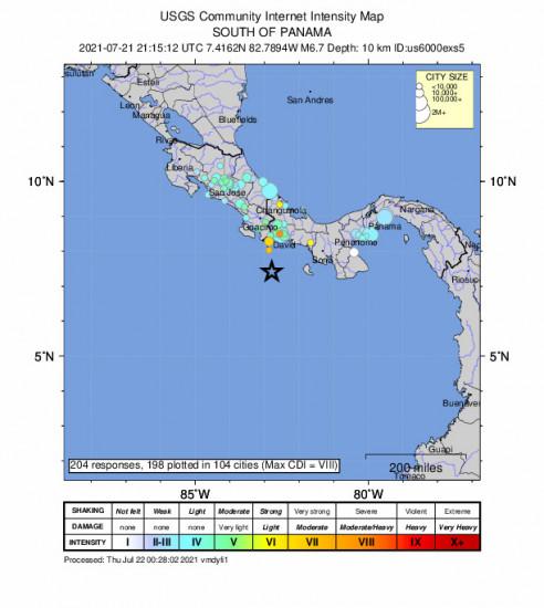 Community Internet Intensity Map for the Punta De Burica, Panama 6.7m Earthquake, Wednesday Jul. 21 2021, 4:15:12 PM