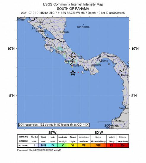 GEO Community Internet Intensity Map for the Punta De Burica, Panama 6.7m Earthquake, Wednesday Jul. 21 2021, 4:15:12 PM