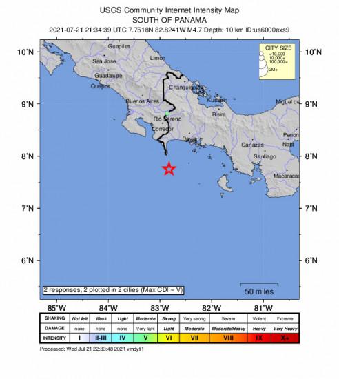 Community Internet Intensity Map for the Punta De Burica, Panama 4.7m Earthquake, Wednesday Jul. 21 2021, 4:34:39 PM