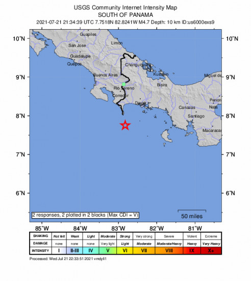 GEO Community Internet Intensity Map for the Punta De Burica, Panama 4.7m Earthquake, Wednesday Jul. 21 2021, 4:34:39 PM