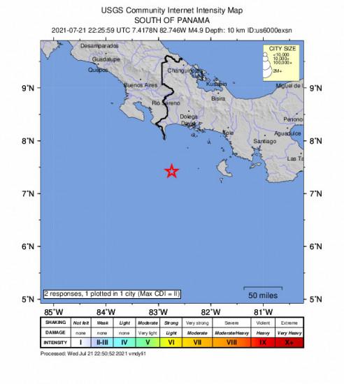Community Internet Intensity Map for the Punta De Burica, Panama 4.9m Earthquake, Wednesday Jul. 21 2021, 5:25:59 PM