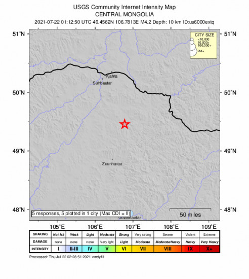 Community Internet Intensity Map for the Darhan, Mongolia 4.2m Earthquake, Thursday Jul. 22 2021, 9:12:50 AM