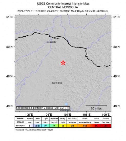 GEO Community Internet Intensity Map for the Darhan, Mongolia 4.2m Earthquake, Thursday Jul. 22 2021, 9:12:50 AM