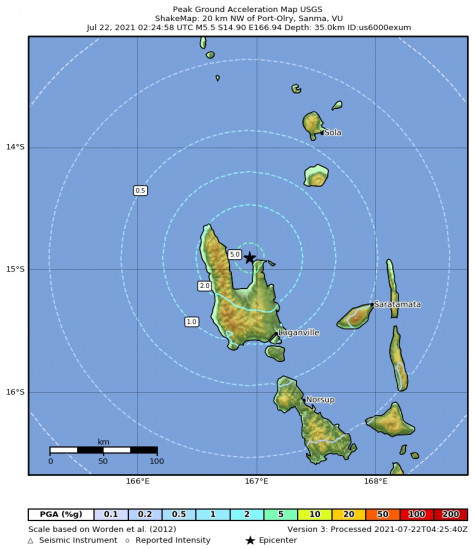 Peak Ground Acceleration Map for the Port-olry, Vanuatu 5.5m Earthquake, Thursday Jul. 22 2021, 1:24:58 PM