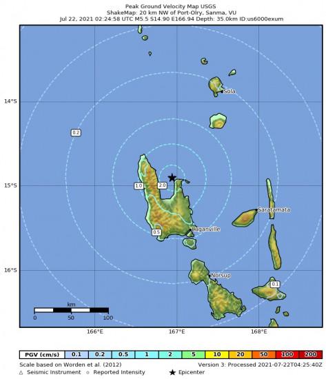 Peak Ground Velocity Map for the Port-olry, Vanuatu 5.5m Earthquake, Thursday Jul. 22 2021, 1:24:58 PM
