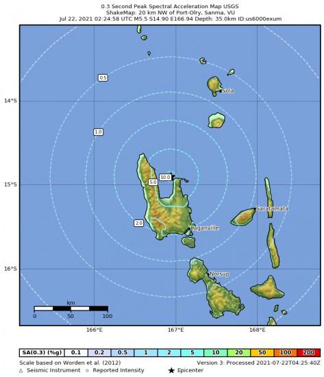 0.3 Second Peak Spectral Acceleration Map for the Port-olry, Vanuatu 5.5m Earthquake, Thursday Jul. 22 2021, 1:24:58 PM